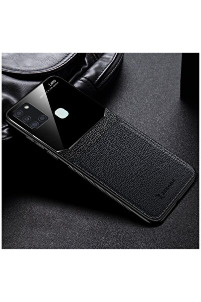 Dara Aksesuar Samsung Galaxy A21s Zebana Lens Deri Siyah Kılıf