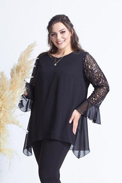 Moda Berray 1939 Siyah Pullu Kollu Şifon Büyük Beden Şık Bluz