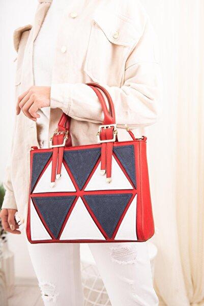 Limoya Bags Renkli Üçgen Desenli El Ve Omuz Çantası