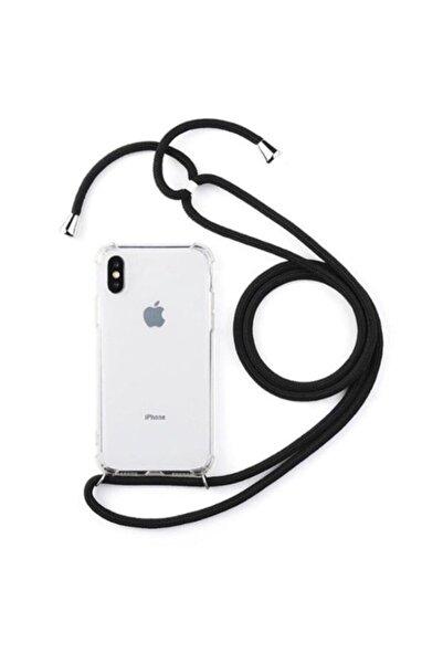 MobilCadde Iphone X / Xs Siyah Askılı Şeffaf Silikon Kılıf