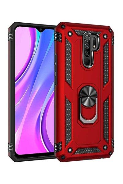 MobilCadde Eiroo Magnet Ring Xiaomi Redmi 9 Ultra Koruma Kırmızı Kılıf