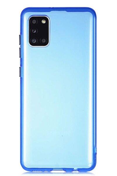 MobilCadde Eiroo Color Button Samsung Galaxy A31 Mavi Silikon Kılıf