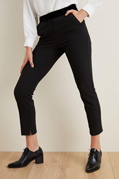 adL Kadın Siyah Beli Kadife Garnili Pantolon
