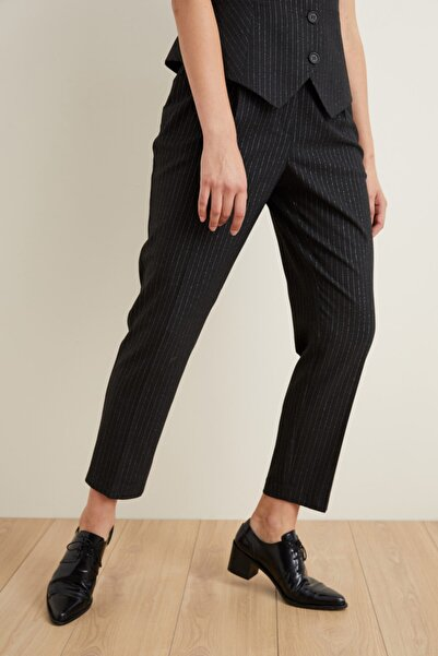 adL Kadın Siyah Çizgili Cepli Pantolon