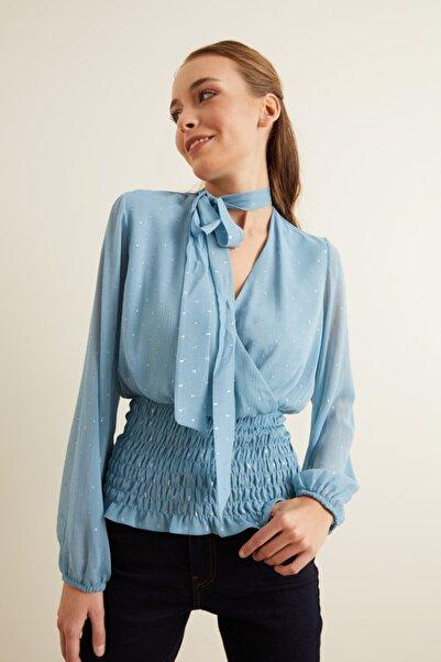 adL Kadın Mavi Kroşetalı Bluz