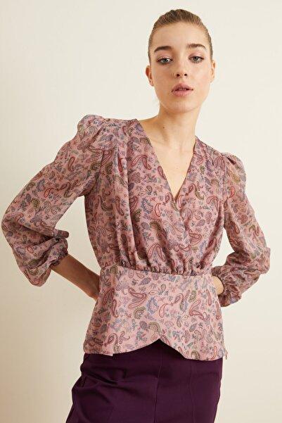 adL Kadın Pudra Desenli Peplum Bluz