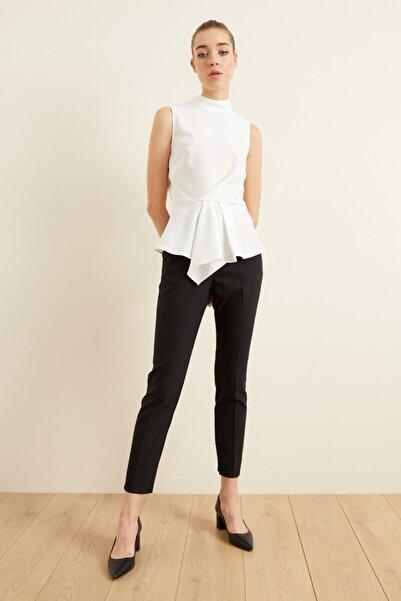 adL Kadın Siyah Paçası Yırtmaçlı Cepli Pantolon
