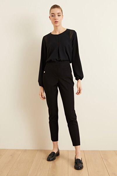 adL Kadın Siyah Metal Aksesuarlı Cepli Pantolon