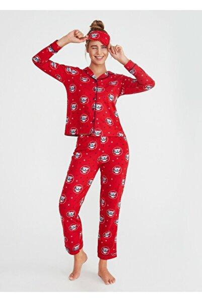 SUWEN Kadın Kırmızı Koalina Maskulen Pijama Takımı