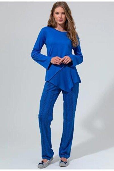 Eros Kadın Lacivert Dagi Dgk12552 Şifon Detaylı Pijama Takımı