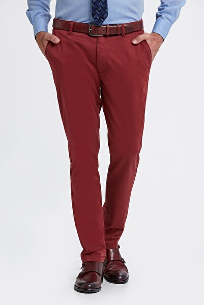 Hemington Erkek Bordo Pamuk  Chino Pantolon