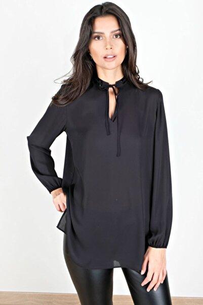 Spazio Kadın Siyah Camryn Yakası Taşlı Krep Bluz