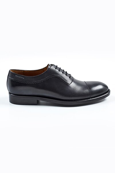 Hemington Erkek El Yapımı Koyu Gri Deri Ayakkabı