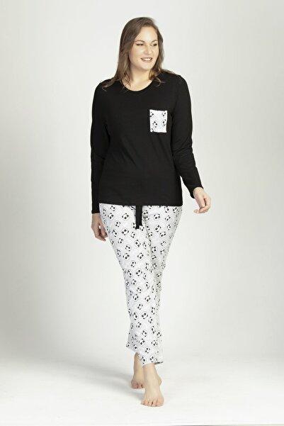 LILIAN Kadın Panda Büyük Beden Pijama Takımı