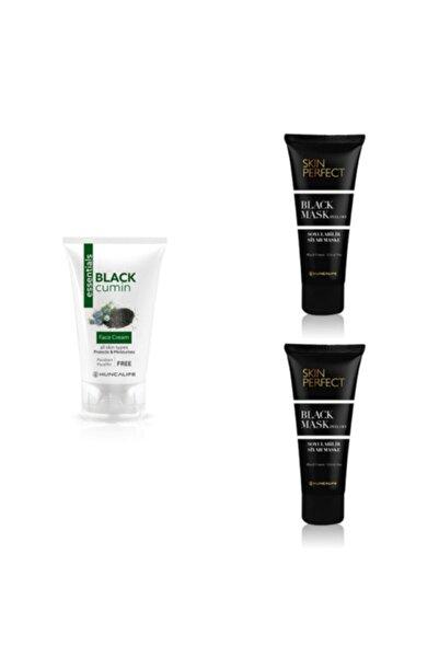 Huncalife Essentials Çörek Otu Yüz Kremi 50 ml  2 Adet Skin Perfect Siyah Maske 100 ml