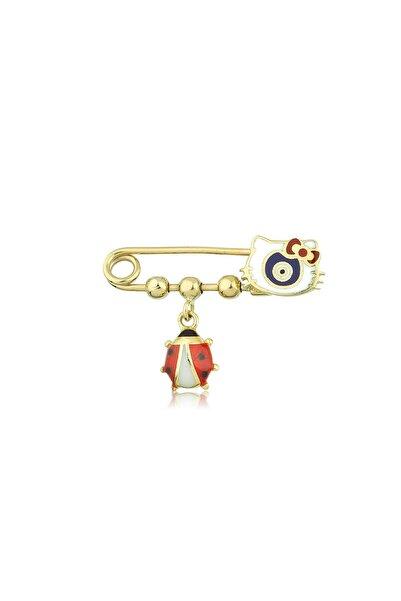 Hello Kitty Kız Çocuk Kırmızı 14 Ayar Altın Bebek İğne