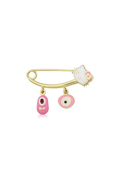 Hello Kitty Kız Çocuk Pembe 14 Ayar Altın Bebek İğne