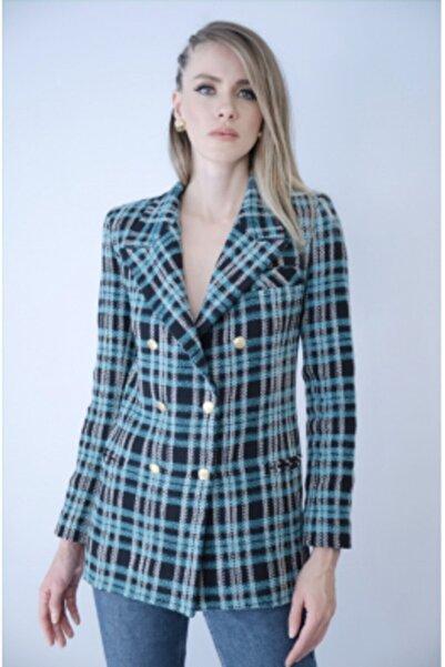 NK Kadın Mavi Kareli Blazer Ceket