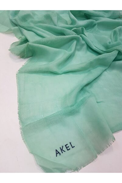 Akel Kadın Yeşil Fileli Pamuklu Şal