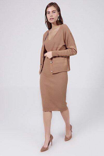 Y-London Kadın Bej Askılı Elbise Uzun Kollu Hırka İkili Triko Takım Y20W126-3402