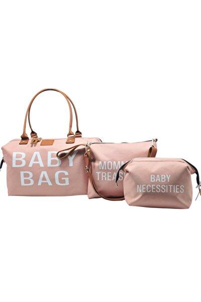 Babysi Baby Bag Tasarım 3 Lü Set Pudra Anne Bebek Bakım Ve Kadın Çantası