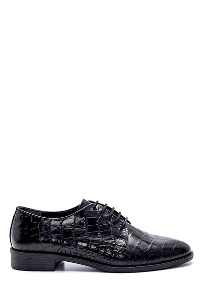Derimod Kadın Siyah Deri Kroko Desenli Ayakkabı