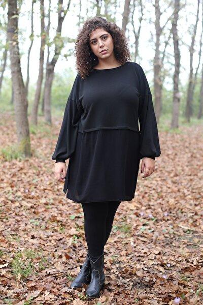 Curly Store Kadın Siyah Garnili Tunik