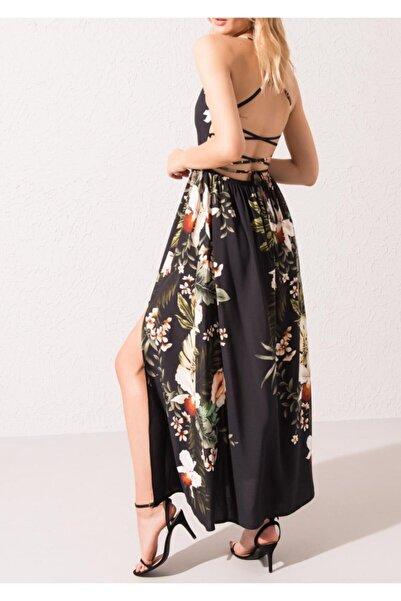BSL Kadın Siyah Sırt Dekolteli Derin Yırtmaç Detaylı Maksi Elbise