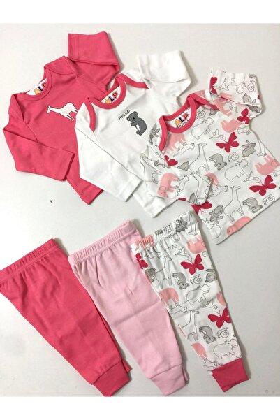 Abentiny Kız Bebek Kırmızı 6 Parça Kombin Set Takım