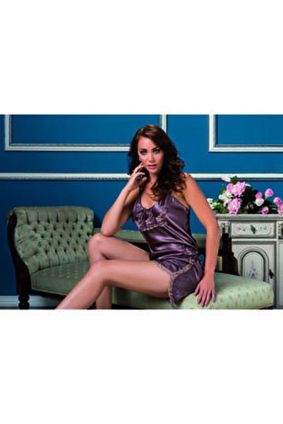 Kadın Mor Dantel Detaylı Saten Askılı Şortlu Pijama Takımı