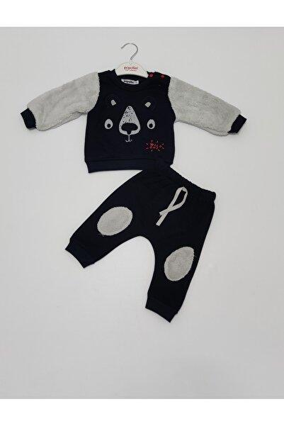 Popolin Erkek Bebek Siyah Beyaz Kışlık Üç Iplik Şardonlu Ikili Takım