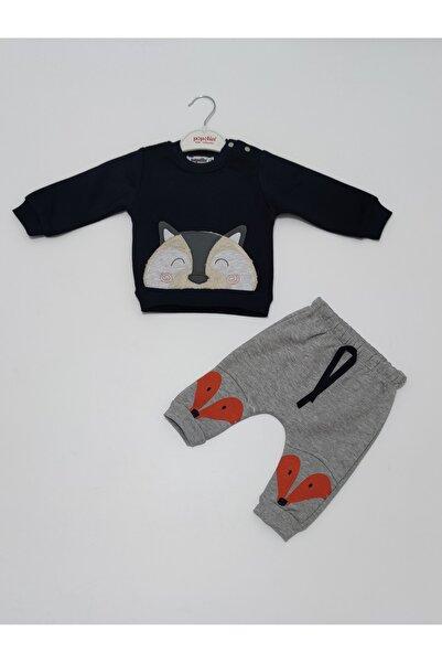 Popolin Erkek Bebek Lacivert Gri  Kışlık Üç Iplik Şardonlu Ikili Takım