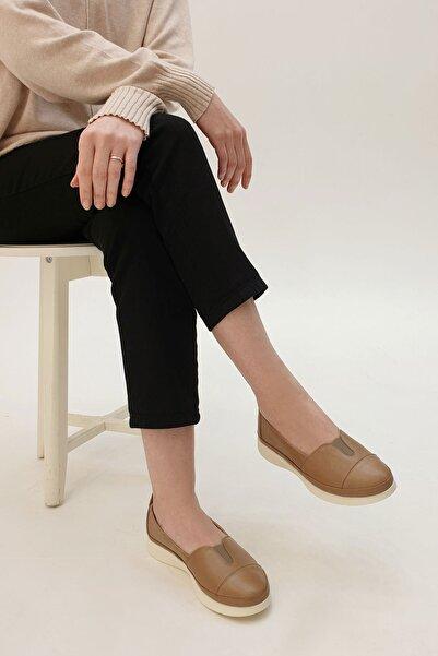 Marjin Meyza Kadın Hakiki Deri Günlük Comfort AyakkabıVizon 3210264016