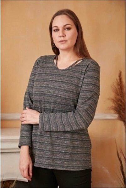 RMG Kadın  Haki Yaka Detaylı Buyuk Beden Bluz