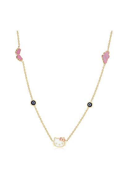 Hello Kitty Kız Çocuk Pembe-lacivert 14 Ayar Altın Kolye