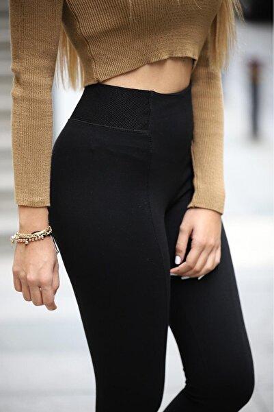 Grenj Fashion Kadın Siyah Kemerinde Geniş Lastik Detaylı Toparlayıcı Yüksek Bel Kışlık Tayt