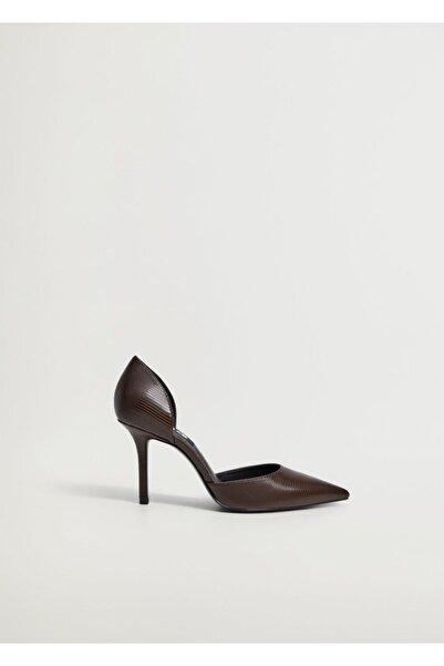 MANGO Woman Kadın Kahverengi Yılan Derisi Desenli Topuklu Ayakkabı