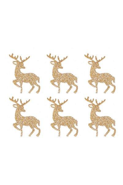 Kullan At Market Yılbaşı Altın Simli Eva Ağaç Ve Hediye Süsü 7x7 cm 6'lı