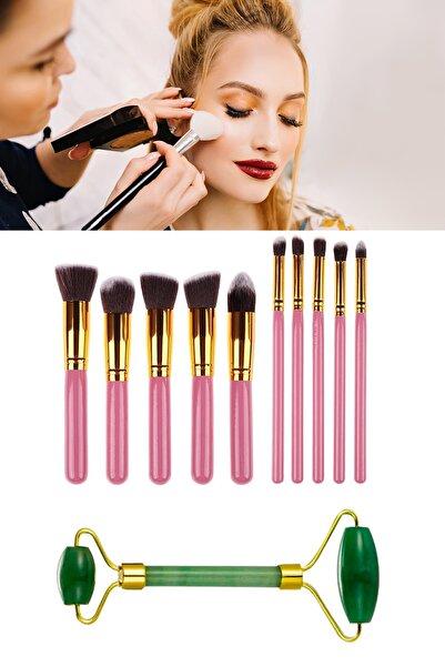 xolo 10'Lu Makyaj Fırça Seti + Jade Roller Yeşil Yeşim Taşı