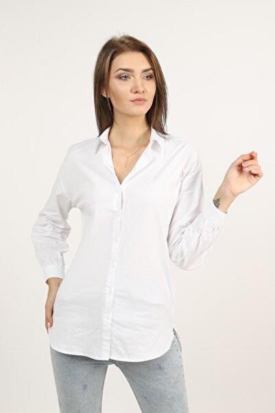 TENA MODA Kadın Beyaz Poplin Boyfriend Basic Gömlek
