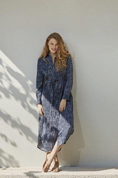Penyemood Kadın Lacivert Uzun Kol Elbise PM8517-LACIVERT-XL