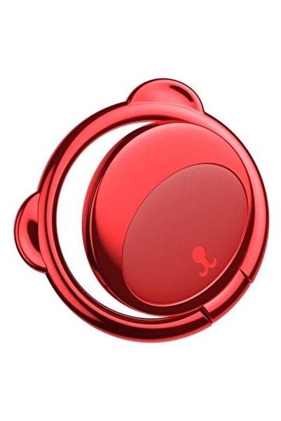 Baseus Kırmızı Ayıcık Dizayn Metal Telefon Arkası Orijinal Yüzük