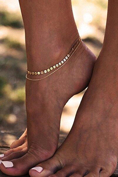 Hane14 Kadın Gold Shine Minik Pullu Zincir 2'li Halhal
