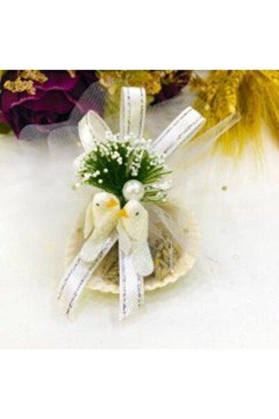 Nikah Şekeri Market 50 Adet Köpük Kuşlu Beyaz Kabuk Lavanta Keseli Magnetli Söz Nişan Nikah Hediyelik