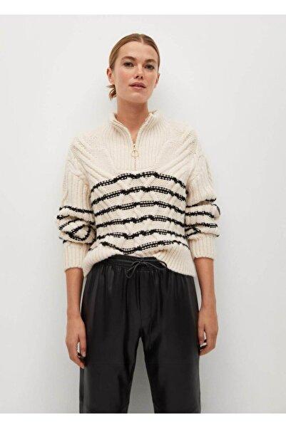 MANGO Woman Kadın Deri Görünümlü Beli Elastik Pantolon