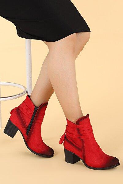 Ayakland Kadın Kırmızı Süet Günlük 6cm Topuk Bot Ayakkabı