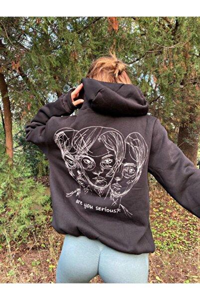 cartoonsshop Kadın Siyah Are You Serious Sweatshirt