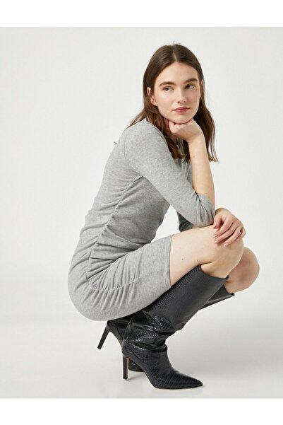 Koton Kadın Gri Uzun Kollu Kısa Elbise