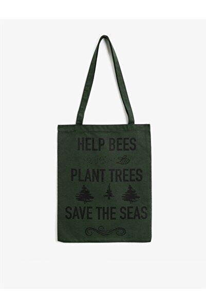 Koton Yeşil Yazili Baskili Bez Çanta
