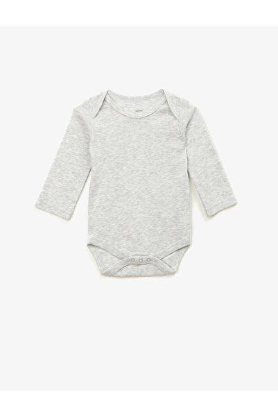Koton Kız Bebek Gri Basic Uzun Kollu Çıtçıtlı Zıbın
